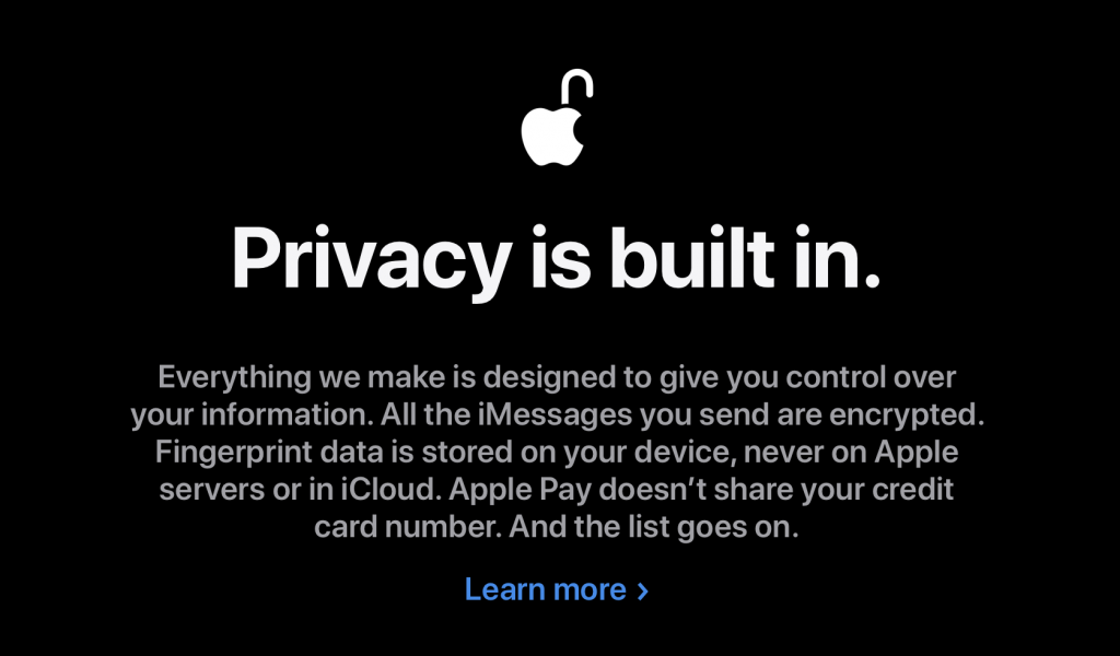 privacy is built in - Apple